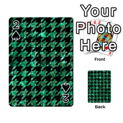 Houndstooth1 Black Marble & Green Marble Playing Cards 54 Designs