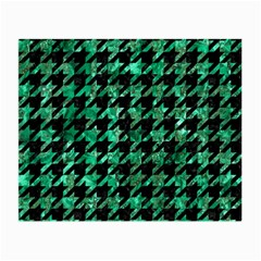 Houndstooth1 Black Marble & Green Marble Small Glasses Cloth (2 Sides) by trendistuff