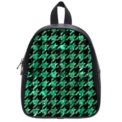 Houndstooth1 Black Marble & Green Marble School Bag (small) by trendistuff