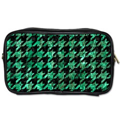 Houndstooth1 Black Marble & Green Marble Toiletries Bag (one Side) by trendistuff