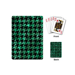 Houndstooth1 Black Marble & Green Marble Playing Cards (mini) by trendistuff