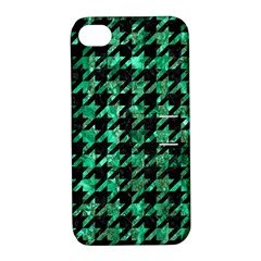 Houndstooth1 Black Marble & Green Marble Apple Iphone 4/4s Hardshell Case With Stand by trendistuff