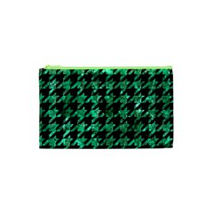 Houndstooth1 Black Marble & Green Marble Cosmetic Bag (xs) by trendistuff
