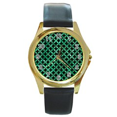 Circles3 Black Marble & Green Marble Round Gold Metal Watch by trendistuff