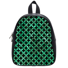 Circles3 Black Marble & Green Marble School Bag (small) by trendistuff