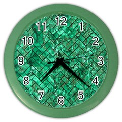 Brick2 Black Marble & Green Marble (r) Color Wall Clock by trendistuff