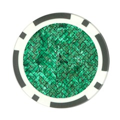 Brick2 Black Marble & Green Marble (r) Poker Chip Card Guard by trendistuff