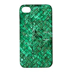 Brick2 Black Marble & Green Marble (r) Apple Iphone 4/4s Hardshell Case With Stand by trendistuff