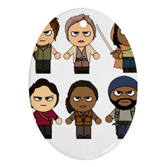 The Walking Dead   Main Characters Chibi   Amc Walking Dead   Manga Dead Ornament (oval)  by PTsImaginarium