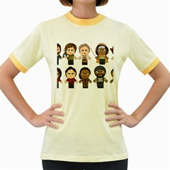 The Walking Dead   Main Characters Chibi   Amc Walking Dead   Manga Dead Women s Fitted Ringer T Shirts by PTsImaginarium