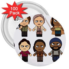 The Walking Dead   Main Characters Chibi   Amc Walking Dead   Manga Dead 3  Buttons (100 Pack)  by PTsImaginarium