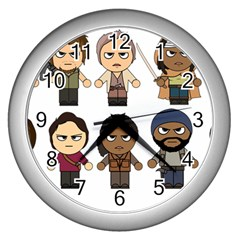 The Walking Dead   Main Characters Chibi   Amc Walking Dead   Manga Dead Wall Clocks (silver)  by PTsImaginarium