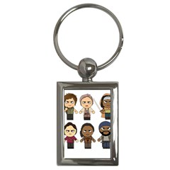 The Walking Dead   Main Characters Chibi   Amc Walking Dead   Manga Dead Key Chains (rectangle)  by PTsImaginarium