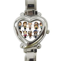 The Walking Dead   Main Characters Chibi   Amc Walking Dead   Manga Dead Heart Italian Charm Watch by PTsImaginarium
