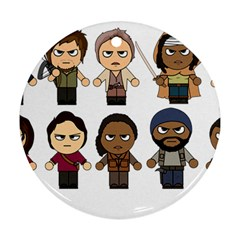 The Walking Dead   Main Characters Chibi   Amc Walking Dead   Manga Dead Round Ornament (two Sides)  by PTsImaginarium