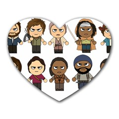 The Walking Dead   Main Characters Chibi   Amc Walking Dead   Manga Dead Heart Mousepads by PTsImaginarium