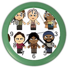 The Walking Dead   Main Characters Chibi   Amc Walking Dead   Manga Dead Color Wall Clocks by PTsImaginarium