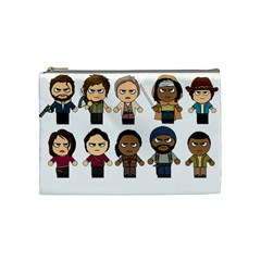 The Walking Dead   Main Characters Chibi   Amc Walking Dead   Manga Dead Cosmetic Bag (medium)  by PTsImaginarium