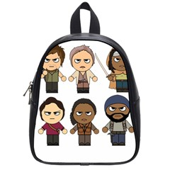 The Walking Dead   Main Characters Chibi   Amc Walking Dead   Manga Dead School Bags (small)  by PTsImaginarium