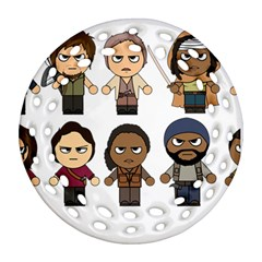 The Walking Dead   Main Characters Chibi   Amc Walking Dead   Manga Dead Ornament (round Filigree)  by PTsImaginarium