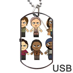 The Walking Dead   Main Characters Chibi   Amc Walking Dead   Manga Dead Dog Tag Usb Flash (one Side) by PTsImaginarium
