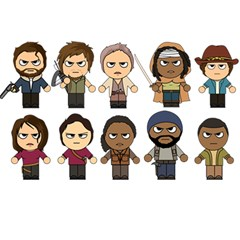 The Walking Dead   Main Characters Chibi   Amc Walking Dead   Manga Dead Birthday Cake 3d Greeting Card (7x5)  by PTsImaginarium