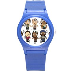The Walking Dead   Main Characters Chibi   Amc Walking Dead   Manga Dead Round Plastic Sport Watch (s) by PTsImaginarium