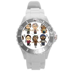 The Walking Dead   Main Characters Chibi   Amc Walking Dead   Manga Dead Round Plastic Sport Watch (l) by PTsImaginarium