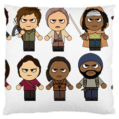The Walking Dead   Main Characters Chibi   Amc Walking Dead   Manga Dead Large Cushion Case (two Sides) by PTsImaginarium