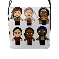 The Walking Dead   Main Characters Chibi   Amc Walking Dead   Manga Dead Flap Messenger Bag (l)  by PTsImaginarium
