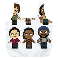 The Walking Dead   Main Characters Chibi   Amc Walking Dead   Manga Dead Full Print Recycle Bags (l)  by PTsImaginarium
