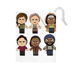 The Walking Dead   Main Characters Chibi   Amc Walking Dead   Manga Dead Drawstring Pouches (large)  by PTsImaginarium