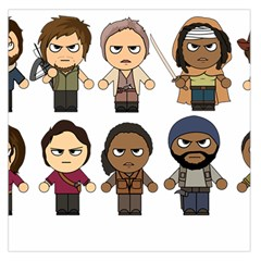 The Walking Dead   Main Characters Chibi   Amc Walking Dead   Manga Dead Large Satin Scarf (square) by PTsImaginarium