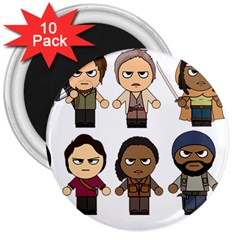 The Walking Dead   Main Characters Chibi   Amc Walking Dead   Manga Dead 3  Magnets (10 Pack)  by PTsImaginarium