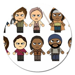 The Walking Dead   Main Characters Chibi   Amc Walking Dead   Manga Dead Magnet 5  (round) by PTsImaginarium