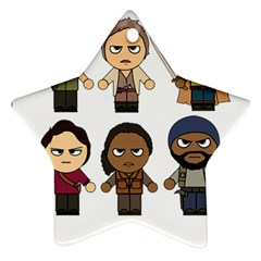 The Walking Dead   Main Characters Chibi   Amc Walking Dead   Manga Dead Star Ornament (two Sides)  by PTsImaginarium