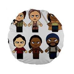 The Walking Dead   Main Characters Chibi   Amc Walking Dead   Manga Dead Standard 15  Premium Round Cushions