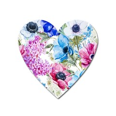 Watercolor Spring Flowers Heart Magnet by TastefulDesigns