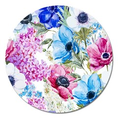Watercolor Spring Flowers Magnet 5  (round)