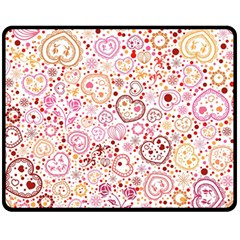 Ornamental Pattern With Hearts And Flowers  Fleece Blanket (medium)