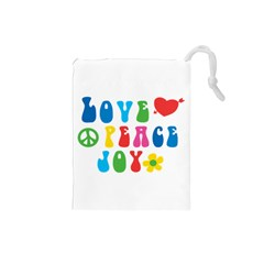 Love Peace Joy Drawstring Pouches (small)