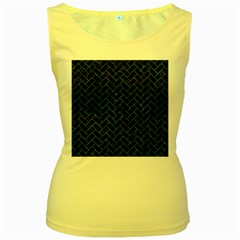 Brick2 Black Marble & Green Marble Women s Yellow Tank Top by trendistuff