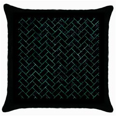 Brick2 Black Marble & Green Marble Throw Pillow Case (black) by trendistuff