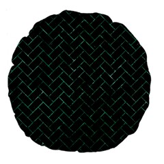 Brick2 Black Marble & Green Marble Large 18  Premium Flano Round Cushion