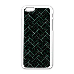 Brick2 Black Marble & Green Marble Apple Iphone 6/6s White Enamel Case by trendistuff
