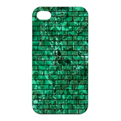 Brick1 Black Marble & Green Marble (r) Apple Iphone 4/4s Hardshell Case by trendistuff