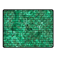Brick1 Black Marble & Green Marble (r) Double Sided Fleece Blanket (small)