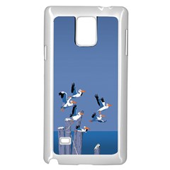 Abstract Pelicans Seascape Tropical Pop Art  Samsung Galaxy Note 4 Case (white) by WaltCurleeArt