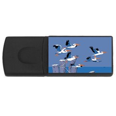 Abstract Pelicans Seascape Tropical Pop Art Usb Flash Drive Rectangular (4 Gb)  by WaltCurleeArt