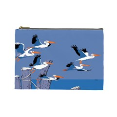 Abstract Pelicans Seascape Tropical Pop Art Cosmetic Bag (large)  by WaltCurleeArt